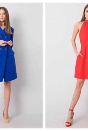 sukienka koktajlowa w intensywnym kolorze