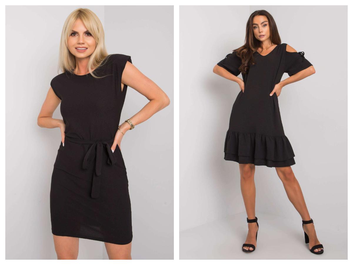 Sukienka mała czarna z krótkim rękawem i wiązaniem w pasie